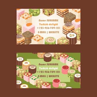 Biglietto da visita del negozio di caramelle dolci orientali delizia turca
