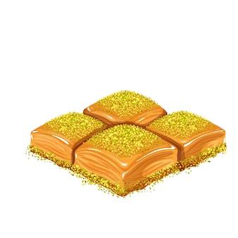Illustrazione vettoriale di baklava al pistacchio di dolci turchi.