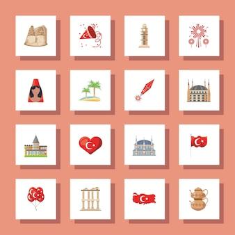Progettazione dettagliata della raccolta delle icone di stile turco, viaggio della cultura della turchia e illustrazione di vettore del tema dell'asia