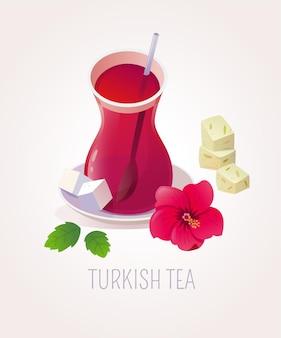 Bicchiere di tè tradizionale turco