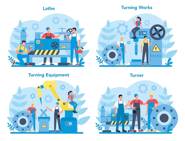Turner o tornio concept set. operaio di fabbrica utilizzando tornio per realizzare dettagli in metallo. lavorazione dei metalli e produzione industriale.
