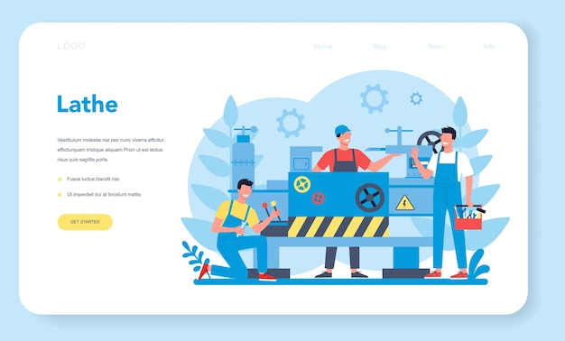 Pagina di destinazione web per tornio o tornio. operaio di fabbrica utilizzando tornio per realizzare dettagli in metallo. lavorazione dei metalli e produzione industriale. illustrazione vettoriale piatto isolato