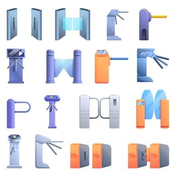 Set di icone di tornello, stile cartoon