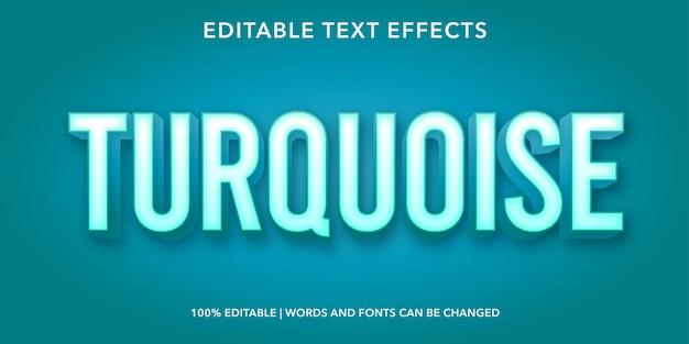 Effetto testo modificabile in stile 3d turchese