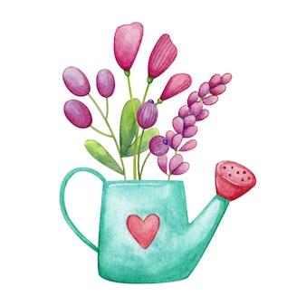Annaffiatoio turchese con fiori di campo viola. mazzo romantico dipinto a mano in acquerello