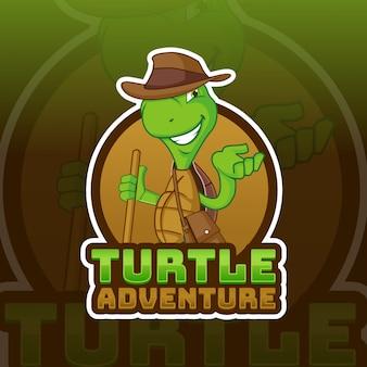 Modello di logo mascotte avventura tartaruga