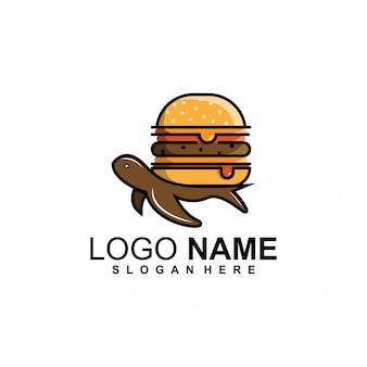 Logo di hamburger di tartaruga Vettore Premium
