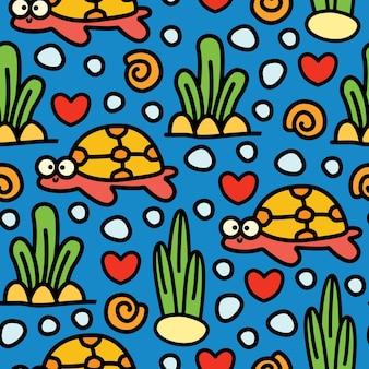 Tartaruga cartoon doodle seamless pattern design