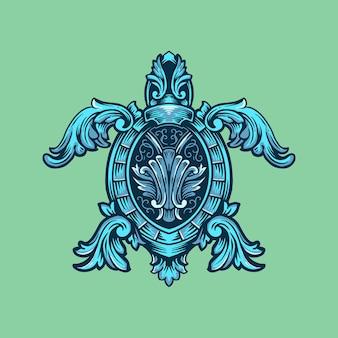 Tartaruga decorata con ornamenti
