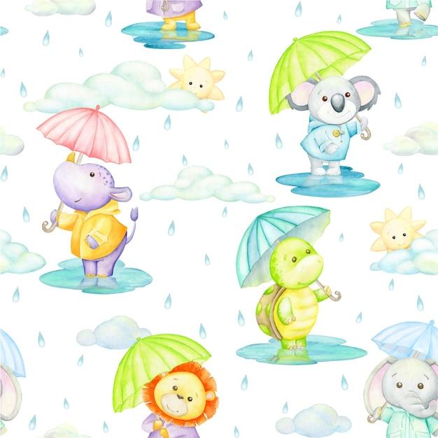 Tartaruga, ippopotamo, kuala, leone, elefante, con ombrelli. reticolo senza giunte dell'acquerello