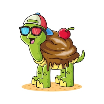 Tartaruga gelato cartoon. illustrazione animale, isolato su sfondo bianco