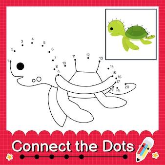 Puzzle per bambini tartaruga collega il foglio di lavoro con i punti per i bambini che contano i numeri da 1 a 20