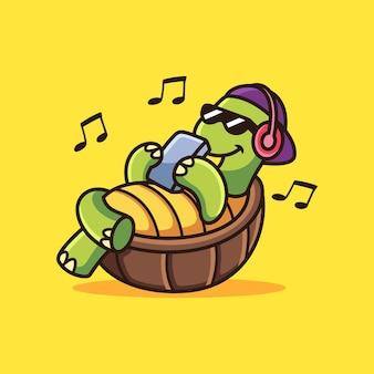 Musica d'ascolto della tartaruga. illustrazione dell'icona di vettore del fumetto animale, isolata sul vettore premium