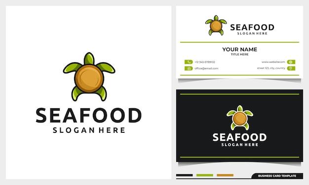 Design logo tartaruga con piastra come concetto di conchiglia e modello di biglietto da visita