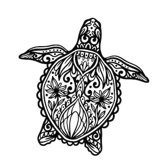 Concetto di illustrazione animale oceano mandala tartaruga Vettore Premium