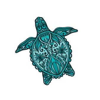 Concetto di illustrazione animale oceano mandala tartaruga