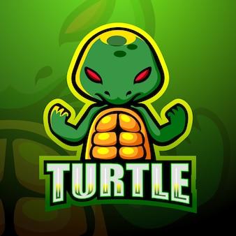 Tartaruga mascotte esport logo design