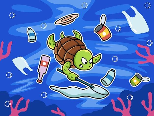 Il nuoto delle tartarughe ripulisce l'inquinamento nel mare