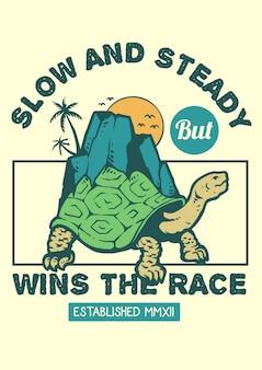 Tartaruga che cammina lentamente ma costantemente