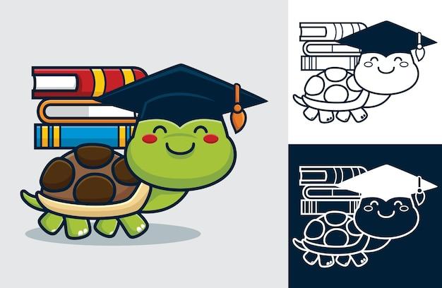 Tartaruga che indossa un cappello da laurea mentre porta libri sulla schiena. illustrazione di cartone animato in stile icona piatta