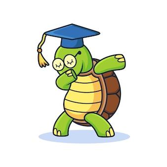 Tartaruga con cartone animato di espressione dub. illustrazione di icona vettoriale animale, isolata su premium vector