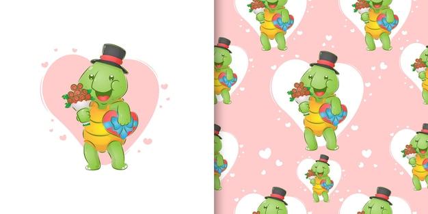 La tartaruga con il cappello tiene in mano il secchio di fiori e un dono d'amore per l'illustrazione