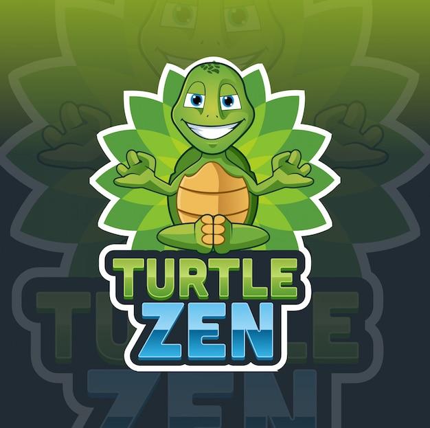 Modello di logo della mascotte di zen tartaruga
