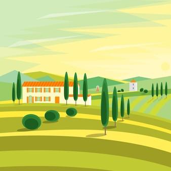 Paesaggio rurale della toscana con le case.