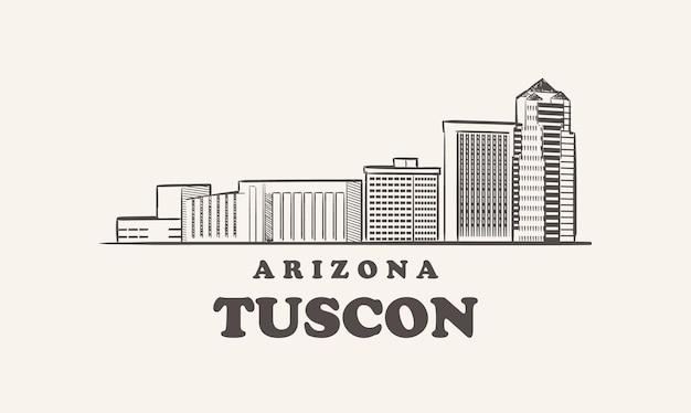 Schizzo disegnato di tuscon skyline arizona