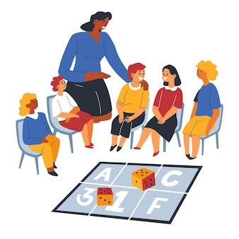 Tutor o insegnante che spiega il materiale della lezione ai bambini