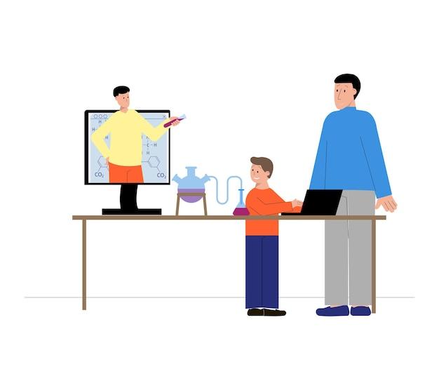 Tutoraggio di composizione piatta con lezione di scienze online e personaggi umani Vettore Premium