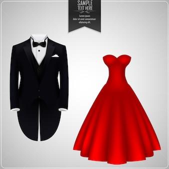 Smoking e abito da sposa Vettore Premium