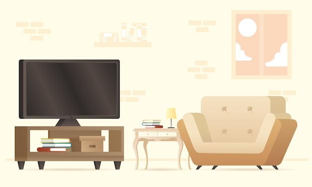 Tv in scrivania con divano mobili casa set icone illustrazione design