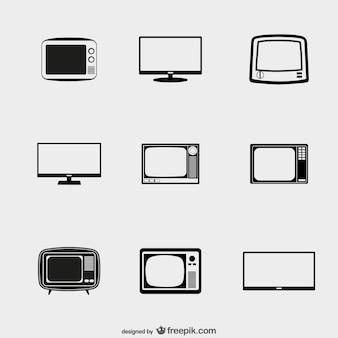 Icone tv pack Vettore Premium