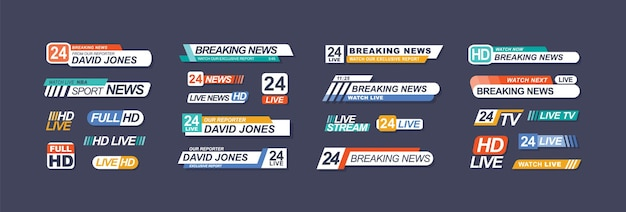 Set di barre di notizie in diretta tv