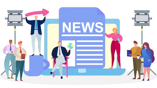 Presentatori di notizie di media televisivi, illustrazione. giornalista, personaggio reporter nel concetto di studio, intervista in onda.