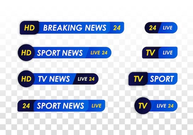 Barra delle notizie della tv. banner di titolo multimediale di trasmissione televisiva