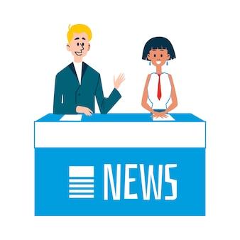 Manifestazione di notizie della tv con l'illustrazione piana di vettore dei caratteri dei presentatori di notizie isolata.