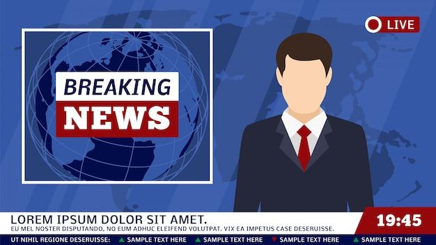 Studio di notizie della tv con l'emittente e l'illustrazione di vettore del fondo del mondo di rottura