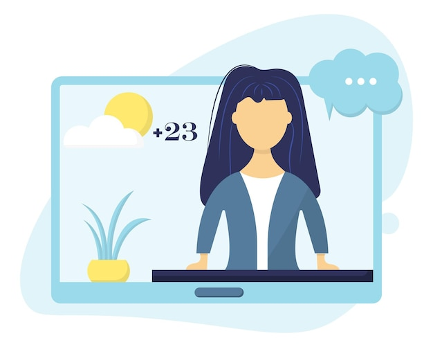 Illustrazione del presentatore televisivo concetto del presentatore del tempo presentatore della ragazza