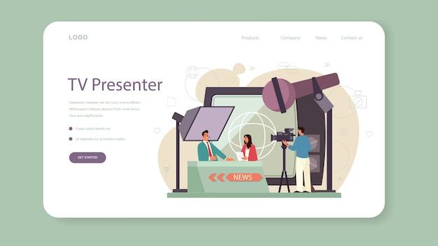 Banner web o pagina di destinazione del presentatore tv. conduttore televisivo in studio. emittente che parla alla telecamera, riportando notizie.