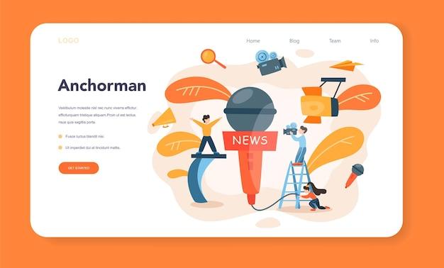 Banner web o pagina di destinazione del presentatore tv
