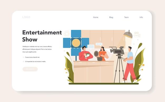 Banner web o pagina di destinazione del presentatore televisivo