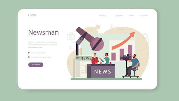 Banner web o pagina di destinazione del presentatore tv.