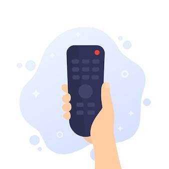 Telecomando tv, radiocomando in mano, vettore