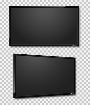 Illustrazione realistica di schermi tv led o lcd con schermo tv