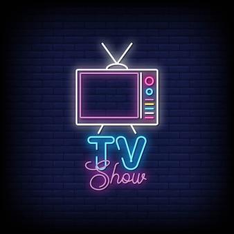 Tv show neon sign stile di testo