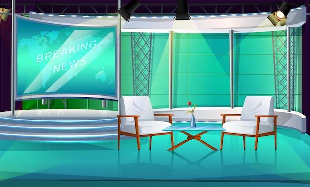 Studio di programmi televisivi con due sedie e tavolo, palco interno, con due sedie e schermo di notizie.