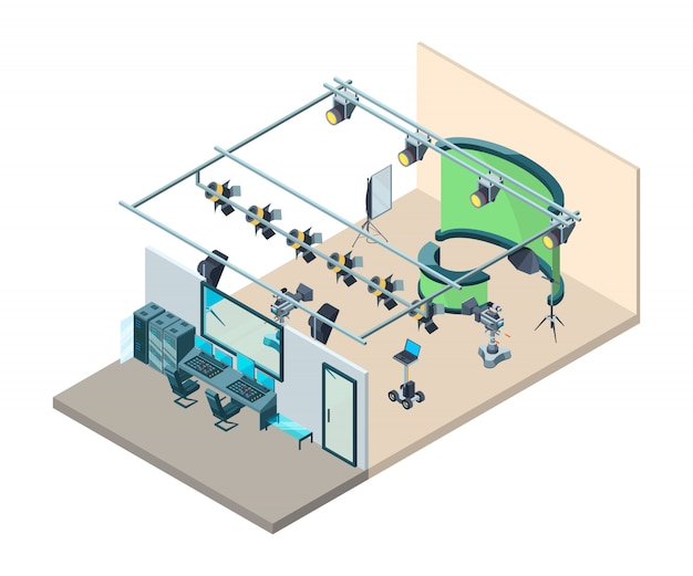Interno dello studio tv. sala di produzione televisiva con videocamere di attrezzature professionali lampeggia softbox treppiede isometrico