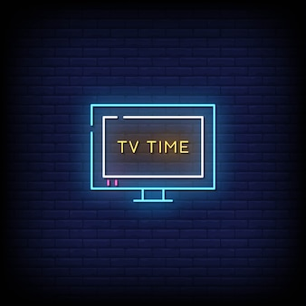Tv time neon signs style text